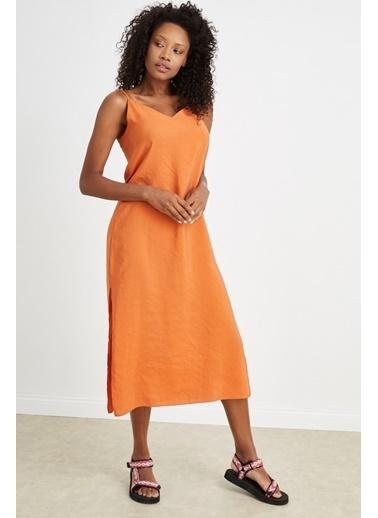Curly Oranj,İp Askılı Elbise Oranj